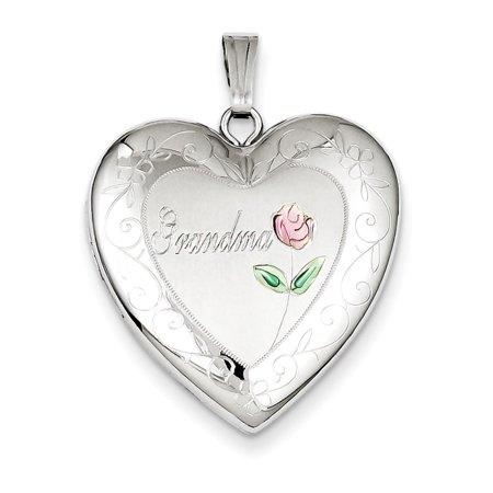 Sterling Silver 24Mm Enameled And Diamond Cut Grandma Heart Locket