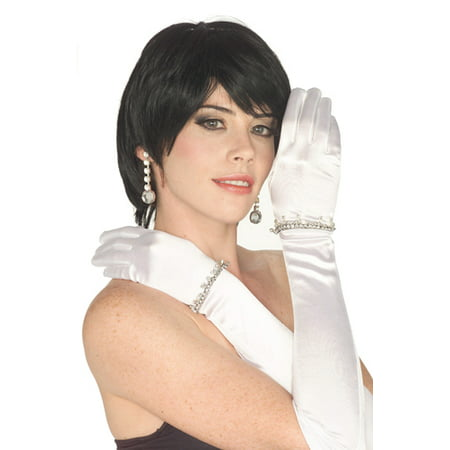 White Satin Gloves with Rhinestones Costume Accessory - Marilyn Halloween