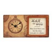 Heartfelt 73616 Clock-Framed Table-Blocks Of Time & Man Of God - 8 x 4 inch