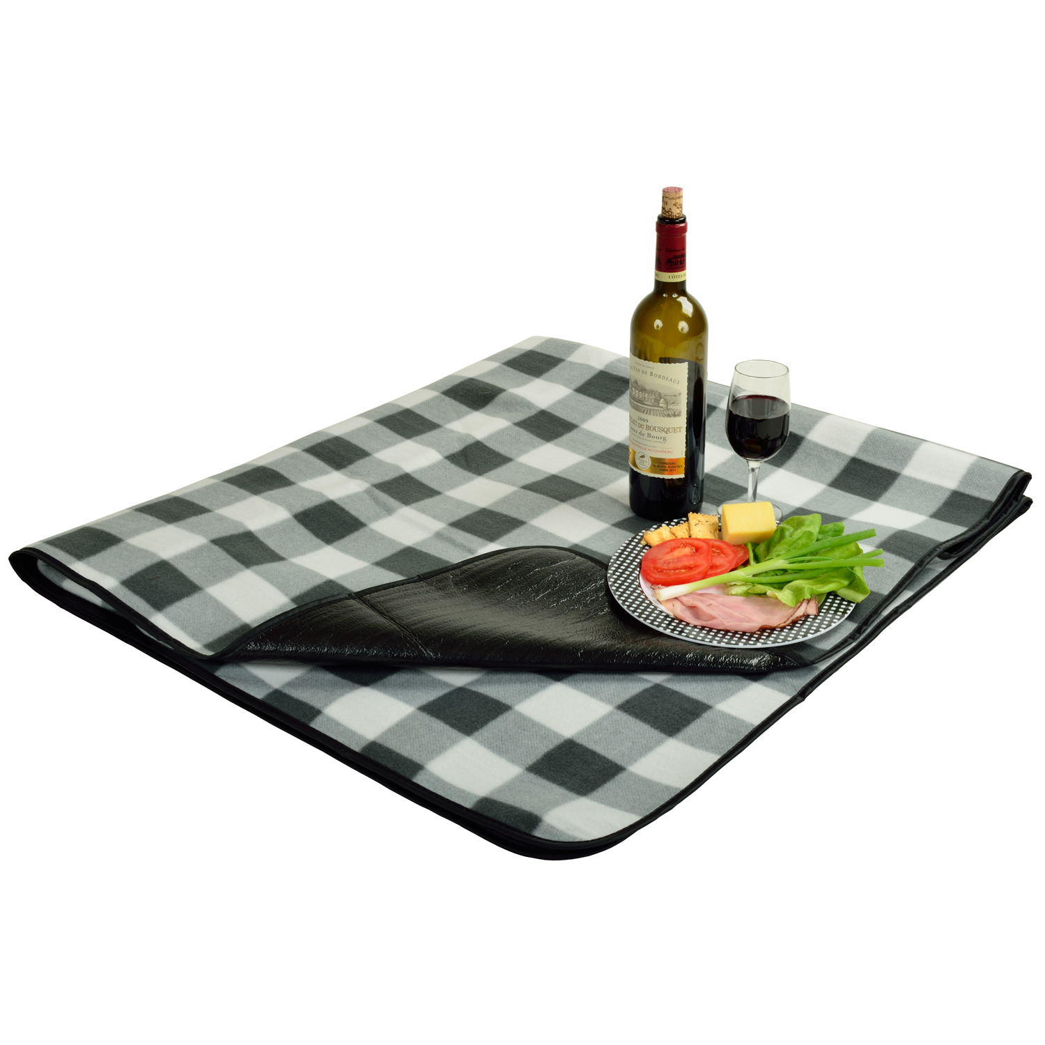 Picnic at Ascot Fleece Picnic Blanket with Tote (212-BLKP)