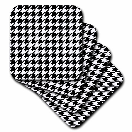 3dRose Black and white houndstooth pattern - large - preppy trendy stylish classy classic chic fashionable, Soft Coasters, set of 4 ()
