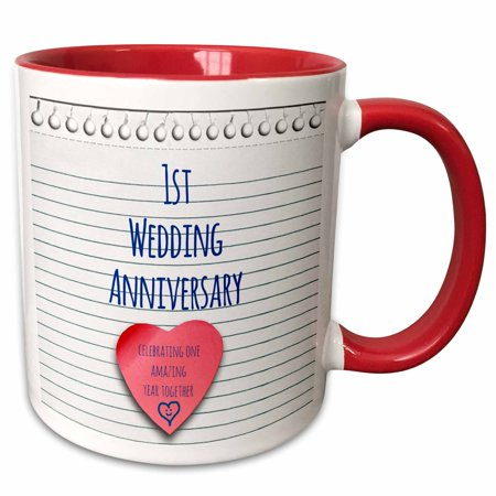 3dRose 1st Wedding Anniversary gift - Paper celebrating 1 year together - first anniversaries - one yr - Two Tone Red Mug,