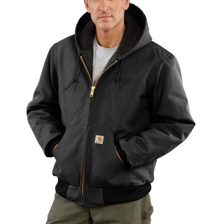 Carhartt Medium Regular Black Quilted-Flannel Lined 12 Ounce Cotton Duck Active Jac Jacket With Front Zipper Closure