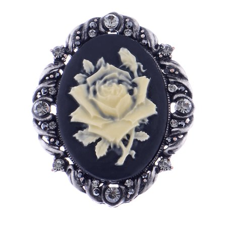 Vintage Inspired Antique Reproduct Rose Pink Crystal Flower Cameo Pin Brooch, Black