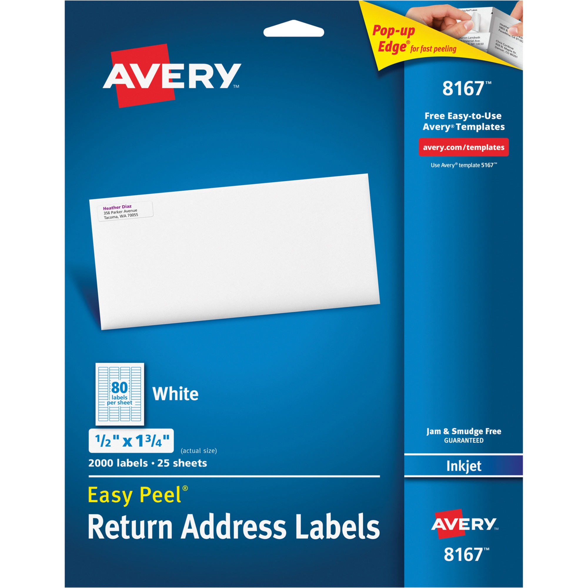 "Avery(R) Easy Peel(R) Return Address Labels for Inkjet Printers 8167, 1/2"" x 1-3/4"", Pack of 2,000"