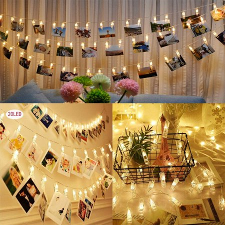 2-Pack,EEEKit 20 Clip LED Photo String Light Battery Powered Fairy Wedding Party Christmas Home Decoration for Hanging Photos Cards and Artwork ()