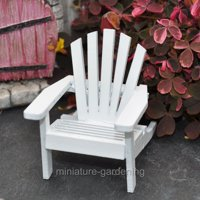 Miniature Adirondack Chair: Wood, White, 1.9375 x 2.375 x 2.5 inches