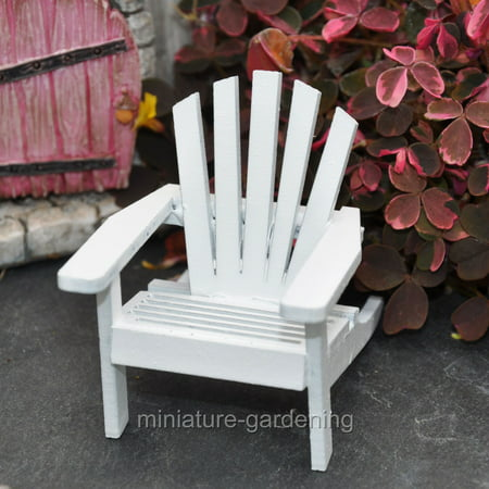 Casket Miniature - Miniature Adirondack Chair: Wood, White, 1.9375 x 2.375 x 2.5 inches