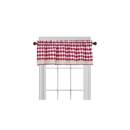 Gingham Plaid Window Curtain Valance Treatment with Macrame Trim - Burgundy ()
