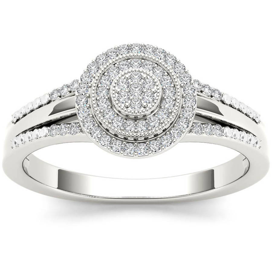 Imperial 1/6 Carat T.W. Diamond Split Shank Cluster Double Halo 10kt White Gold Engagement Ring