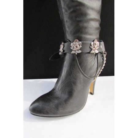 Ladies Western Black Leather Boots - New Biker Western Women Boot Silver Chain Pair Black Leather Straps Rose Flowers
