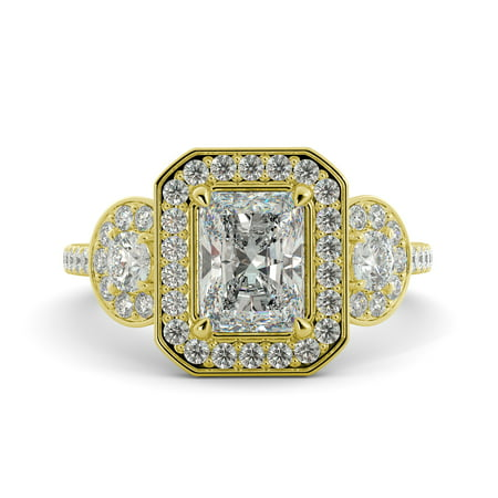 5.19 ct Radiant Cut C&C Brilliant Moissanite & Round Diamond 3 Stone Ring 14k Yellow
