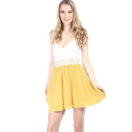 5558844cf8 Glare - Salt Tree Women's Linen Lace And Crochet Insert Padded Dress, US  Seller - Walmart.com