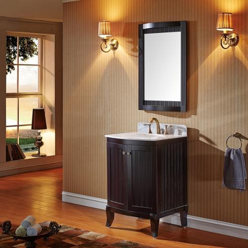 VIRTU USA  Khaleesi 24 inch Single Sink Espresso Vanity with Carrara White Marble Countertop with Backsplash
