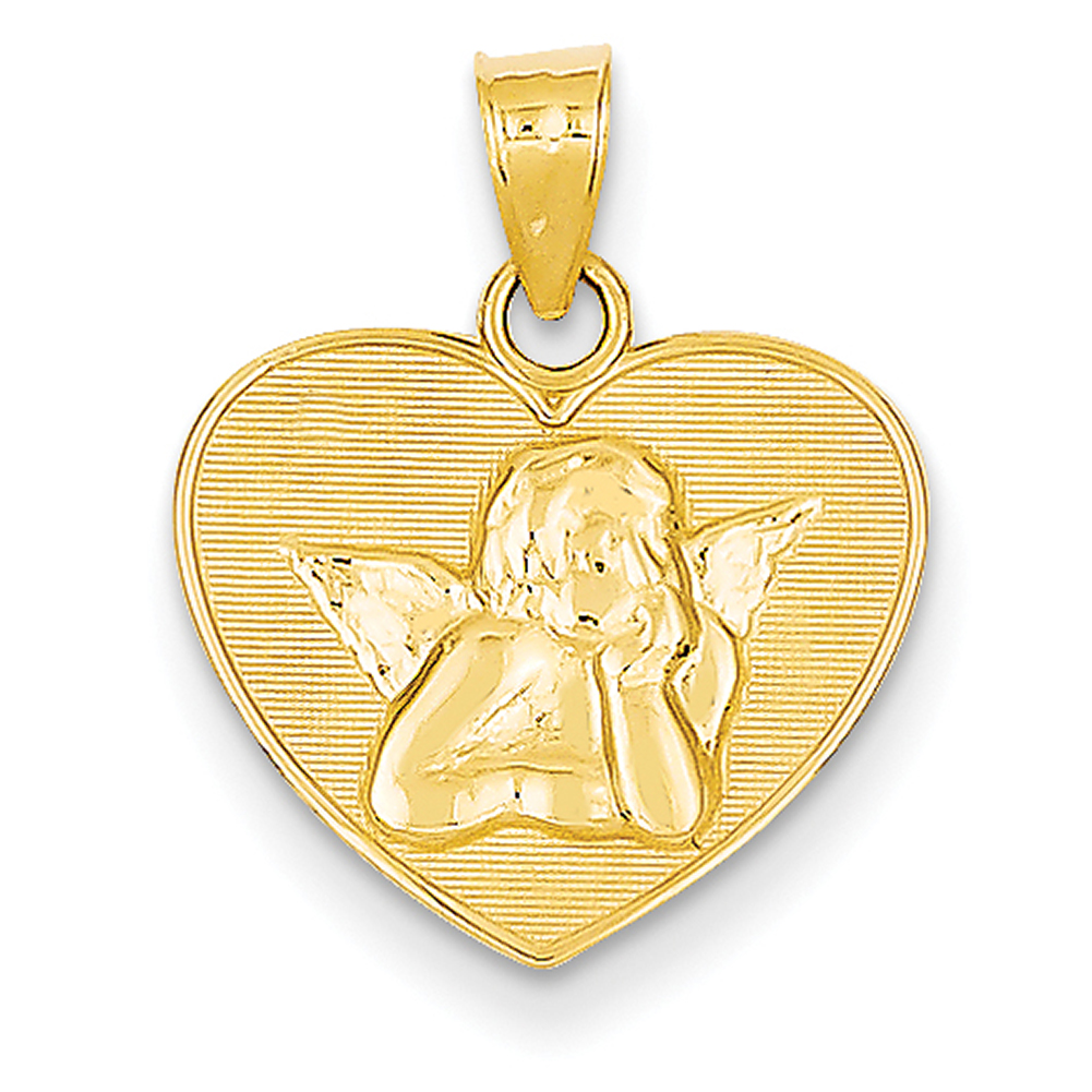 Lex & Lu 14k Yellow Gold Polished & Satin Small Angel Charm