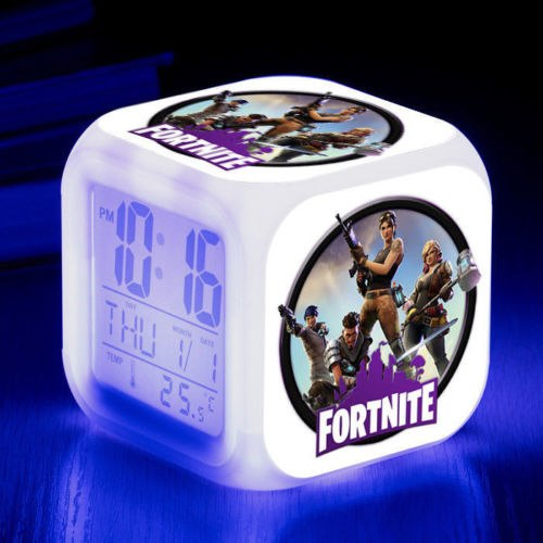 FORTNITE GAME 7 Color Changer LED Night Light Digital Alarm Clock Thermometer Calendar Kids Toy Game Xmas Gift