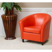 Kingsley Orange Leather Club Chair