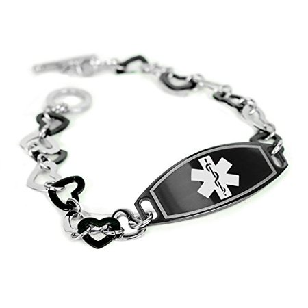 MyIDDr - Organ Donor Medical Bracelet, Black Steel ID & Hearts, Pre-Engraved ()