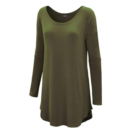 Relaxed Boat Neck Long Sleeve Dolman Shirttail Tunic Top