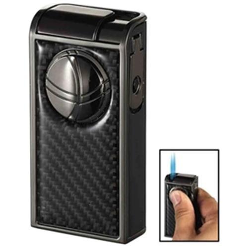 Visol VLR501408 Infinity Double Jet Carbon Fiber Gunmetal Cigar Lighter