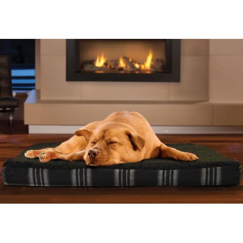 Tucker Murphy Pet Boris Faux Sheepskin and Plaid Memory Foam Dog Bed