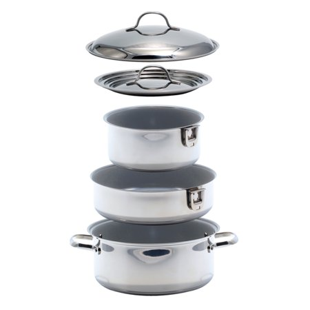 KUUMA 7-PIECE CERAMIC NESTING COOKWARE SET STAINLESS STEEL ...