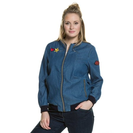 Ulla Popken Ulla Popken Womens Plus Size Trendy Patch Bomber