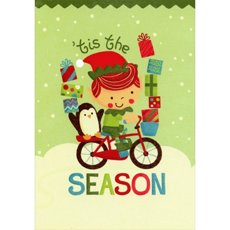 Image Arts Elf and Penguin on Bicycle Christmas Card