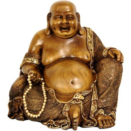 "Oriental Furniture 10"" Sitting Hotei Happy Buddha Statue"