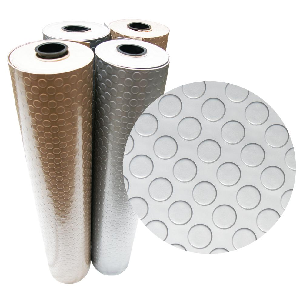 """Rubber-Cal """"Coin-Grip Metallic"""" PVC Flooring - 2.5 mm x 4 ft x 4 ft - Beige"""