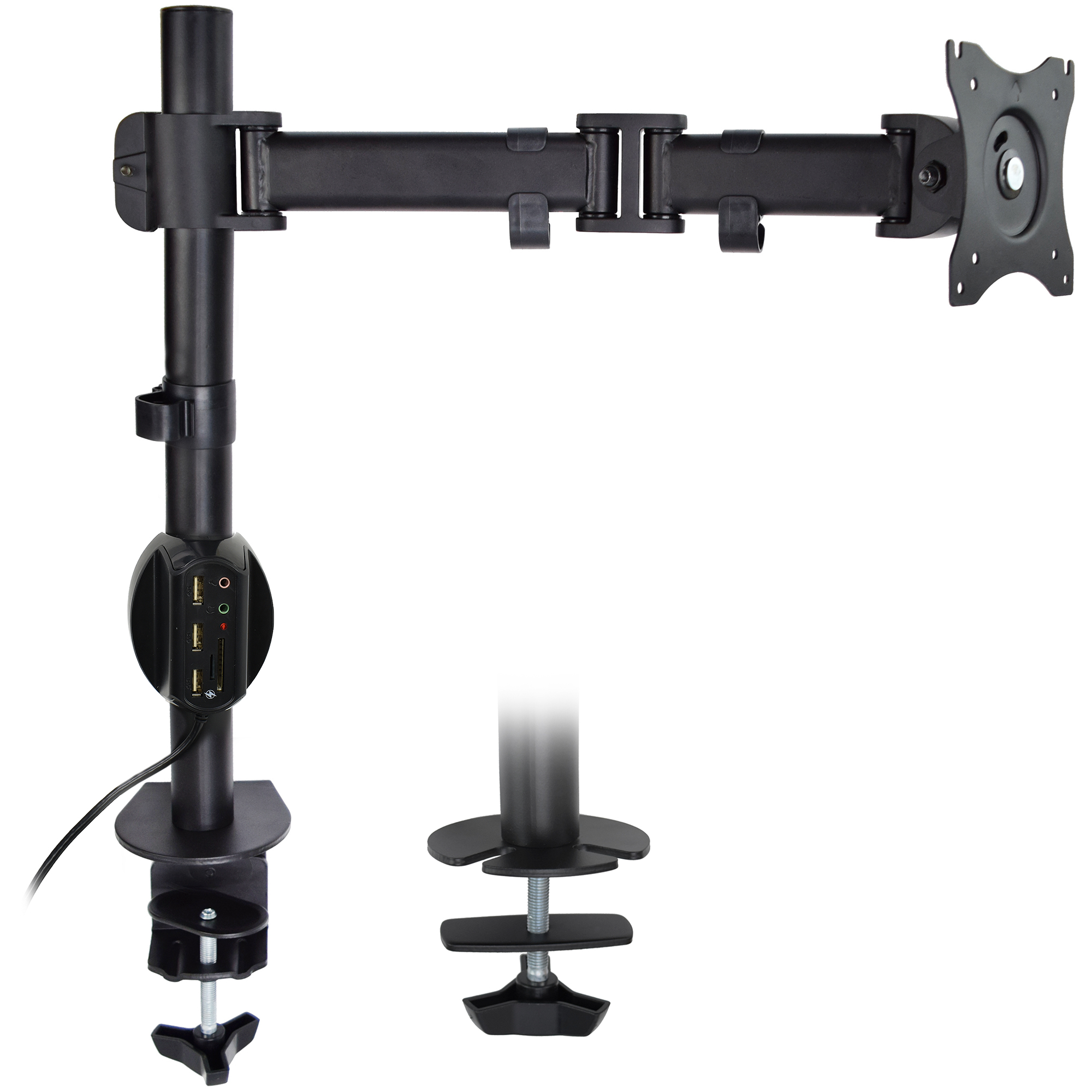 "VIVO Single Monitor Desk Mount Stand with USB Charger Dock Combo | Holds 1 Screen up to 32"" (STAND-KIT-1MU)"