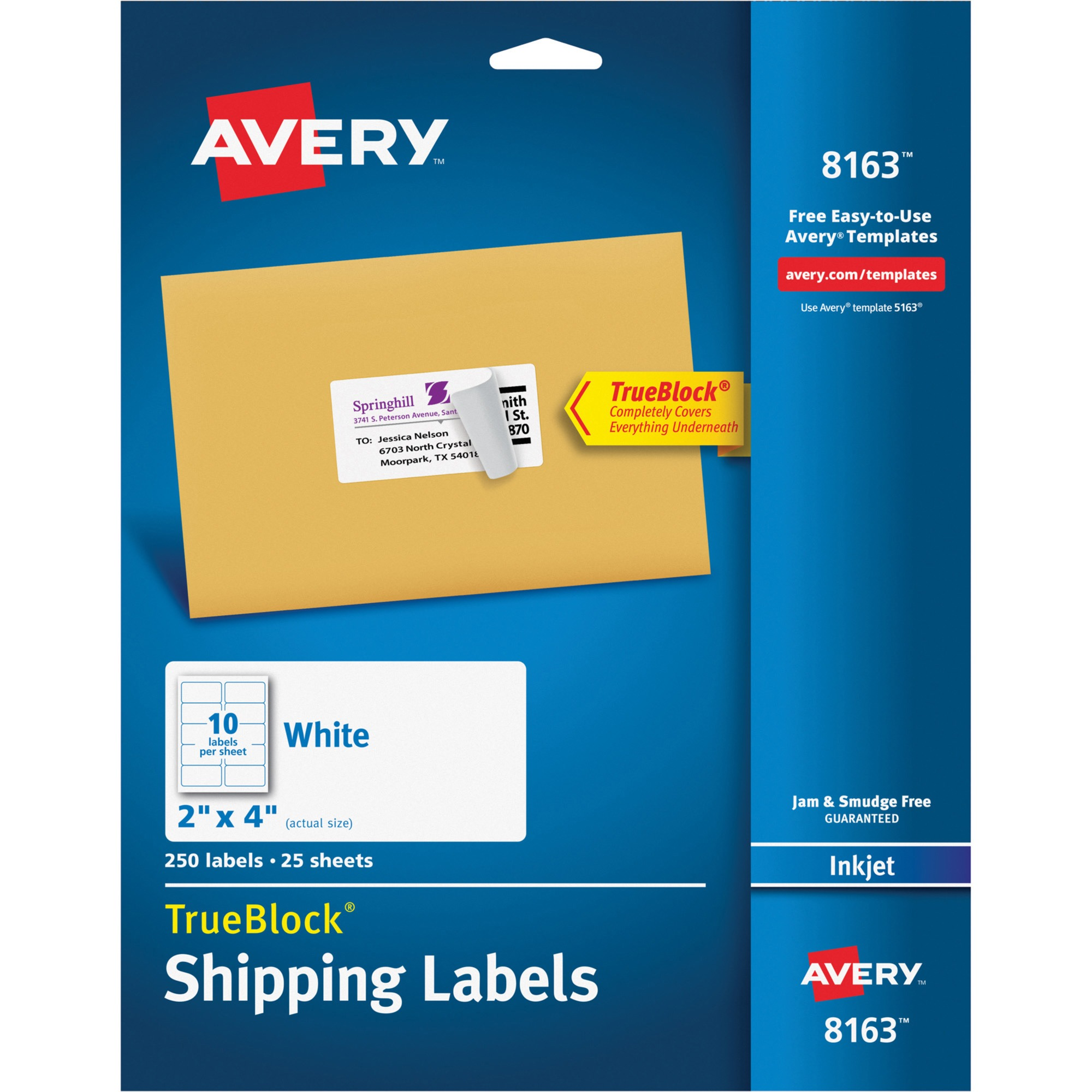 "Avery(R) Shipping Labels with TrueBlock(R) Technology for Inkjet Printers 8163, 2"" x 4"", Pack of 250"