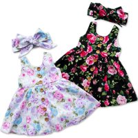 Toddler Infant Kids Baby Girls Summer Floral Dress Princess Party Dresses 0-4Years