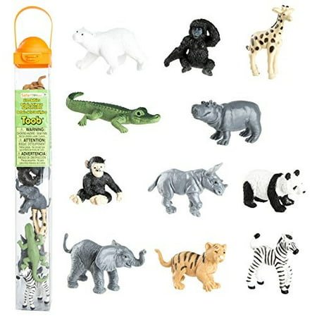 safari ltd zoo bIies toy figurine toob with 11 adorIle bIy animals including bIy zebra, panda, hippo, chimpanzee, rhino, alligator, gorilla, elephant, tiger, polar bear, and giraffe ages 3 -