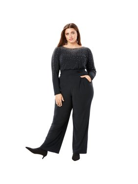 dc583a2f63779 Product Image Roaman s Plus Size Embellished Wide-leg Jumpsuit With Pockets