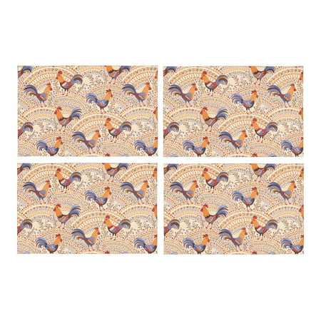 MKHERT Cute Roosters Chickens in Beige Floral Ornament Placemats Table Mats for Dining Room Kitchen Table Decoration 12x18 inch,Set of 4 (Rooster Table Mats)