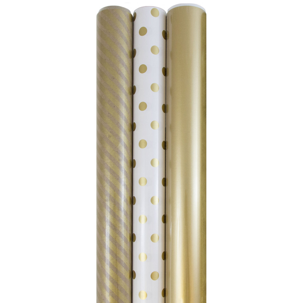 JAM Paper Premium Wrapping Paper Set, 75 sq ft., Gold Collection, 3 Rolls/pack