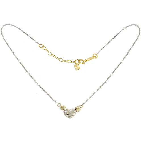 Heart 14kt Yellow and White Gold Anklet
