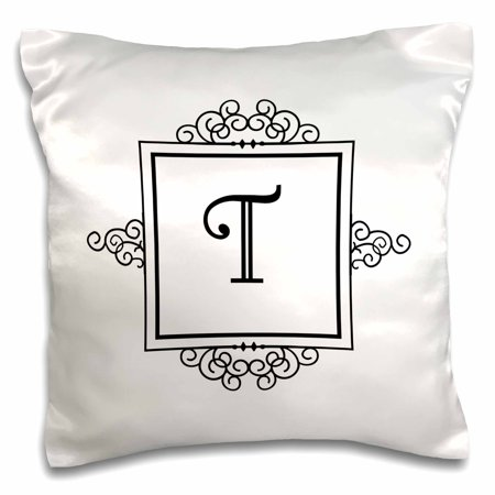 3dRose Initial letter T personal monogrammed fancy black and white typography elegant stylish personalized - Pillow Case, 16 by (Elegant Monogram)