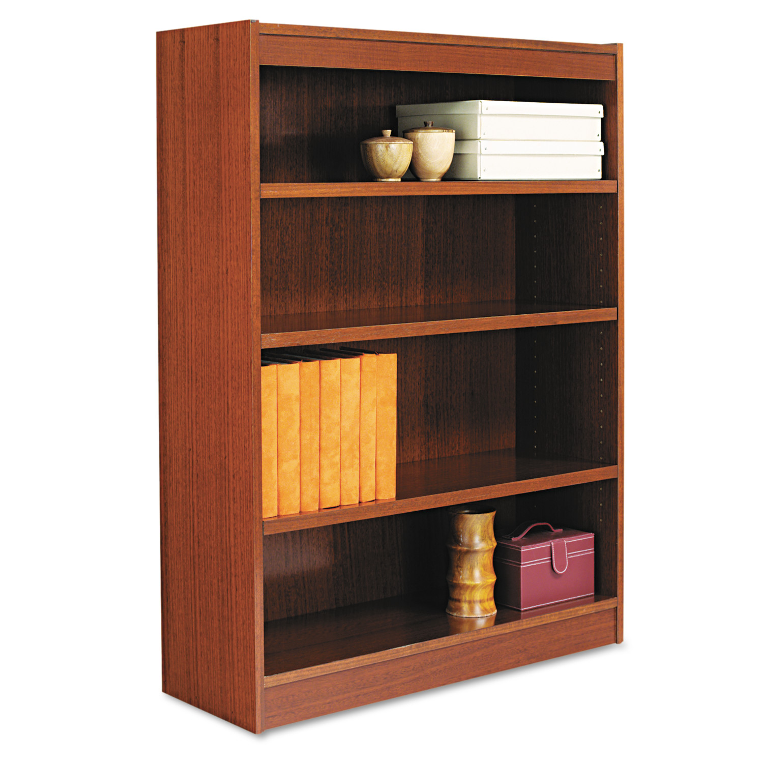 Alera Square Corner Wood Bookcase, Four-Shelf, 35-5 8w x 11-3 4d x 48h, Medium Cherry by ALERA