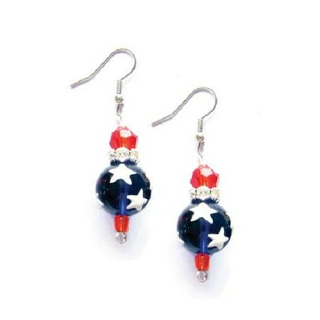 All American Red White Blue Rhinestone Glass Bead Kate and Macy - Multi Circle White Earrings