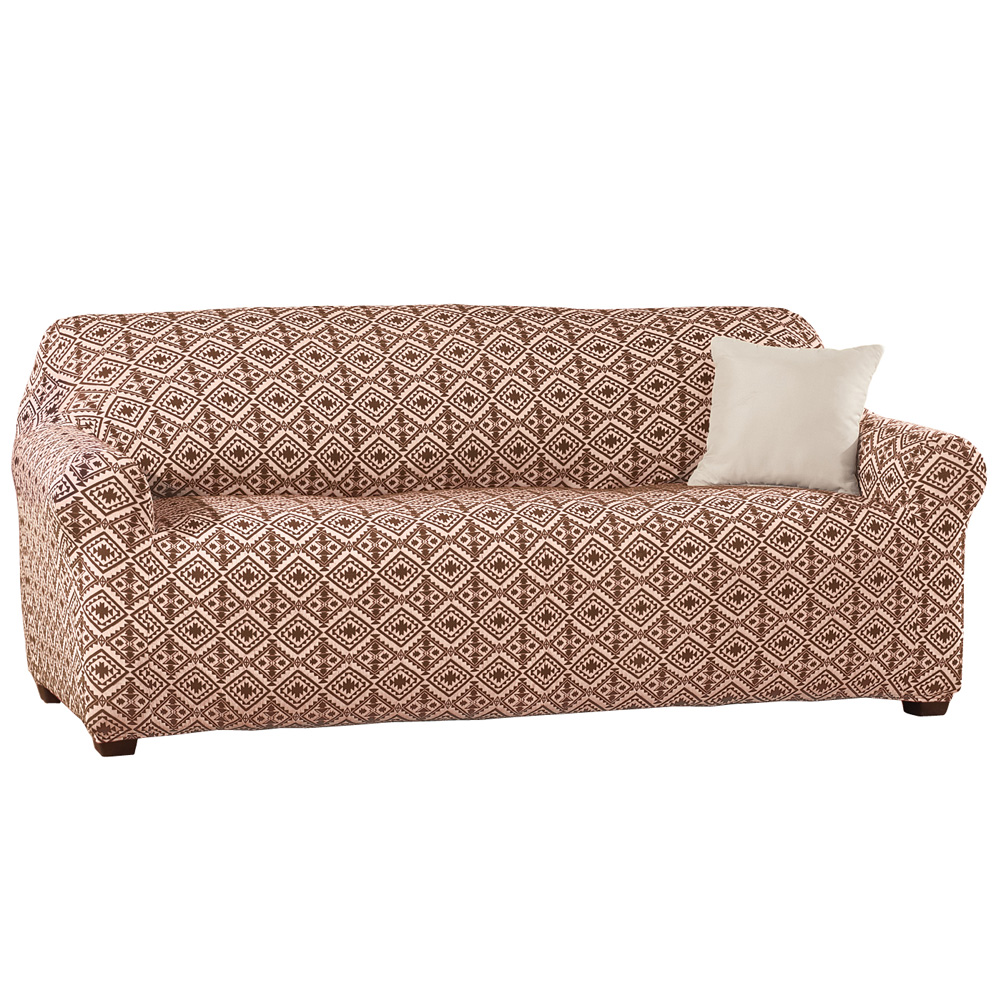 Southwest Knit Stretch Slipcover, Sofa, Chocolate