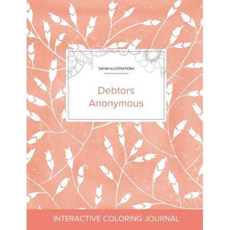 E40 Peach - Adult Coloring Journal : Debtors Anonymous (Safari Illustrations, Peach Poppies)