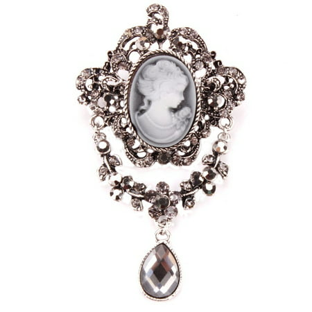 Antique Brooch - Antique Silver Cameo Brooch Marcasite Style Crystal Stones Teardrop Rhinestone Design Woman Brooch Jewelry, BROOCH-19