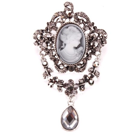 - Antique Silver Cameo Brooch Marcasite Style Crystal Stones Teardrop Rhinestone Design Woman Brooch Jewelry, BROOCH-19