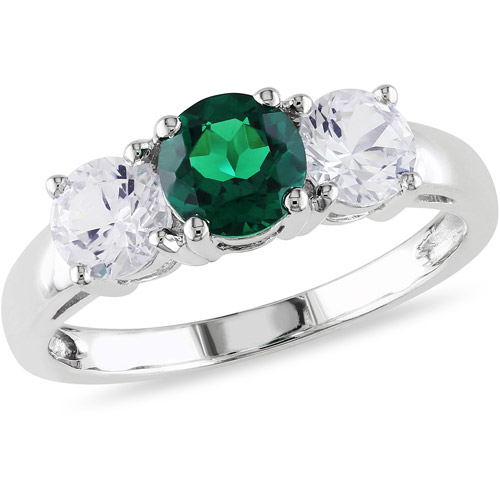 2-1/10 Carat T.G.W. Created Emerald and Created White Sapphire 10kt White Gold Three-Stone Ring