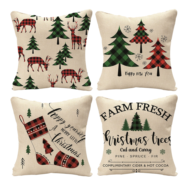 Home Bedroom Xmas Linen Festive Sofa Bed Printed Cushion Cover Xmas Gift Decor