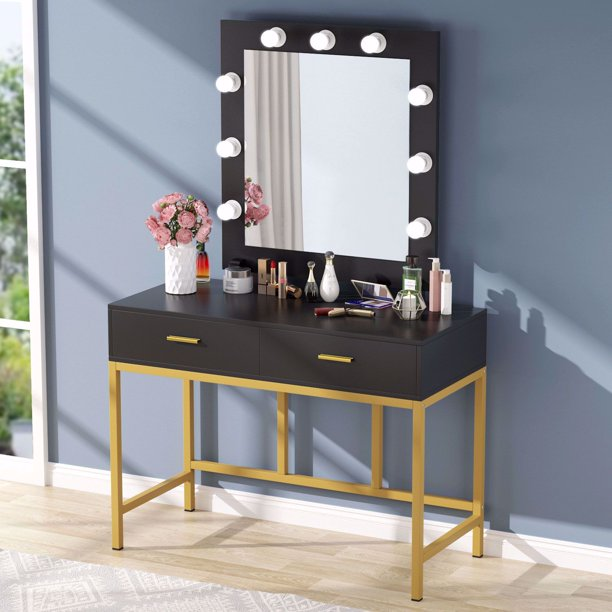 Tribesigns Vanity Table with Lighted Mirror, Makeup Vanity ...