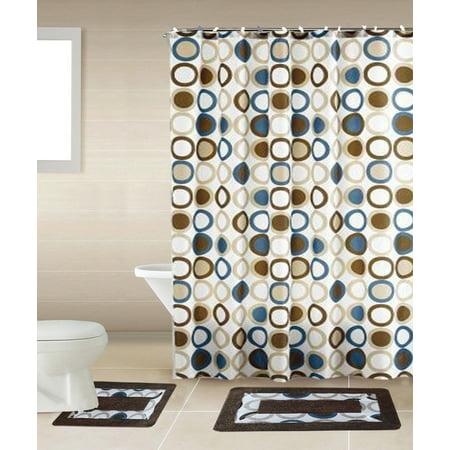15-piece Hotel Bathroom Sets - 2 Non-Slip Bath Mats Rugs Fabric Shower Curtain 12-Hooks BROWN SAMI