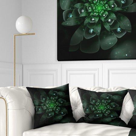 DESIGN ART Designart 'Glowing Crystal Green Fractal Flower' Floral Throw - Crystals Floral Design